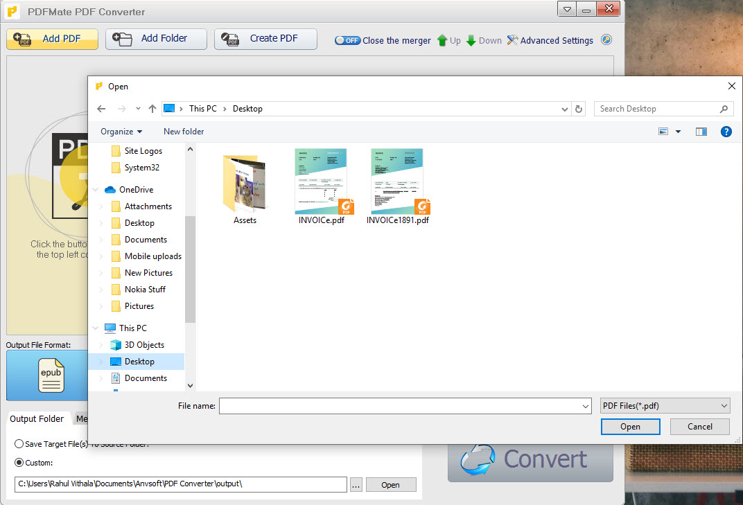 selecting PDF file in PDFMate PDF Converter