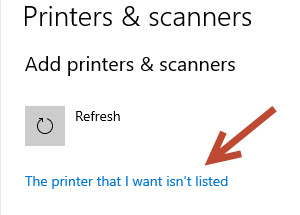 the printer that I want ins't installed.