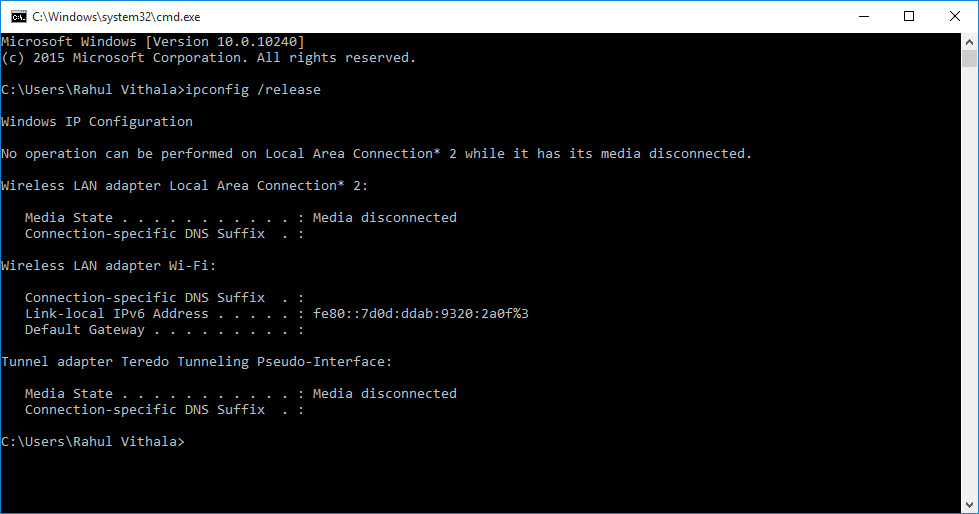 Executing commands to reset TCP IP