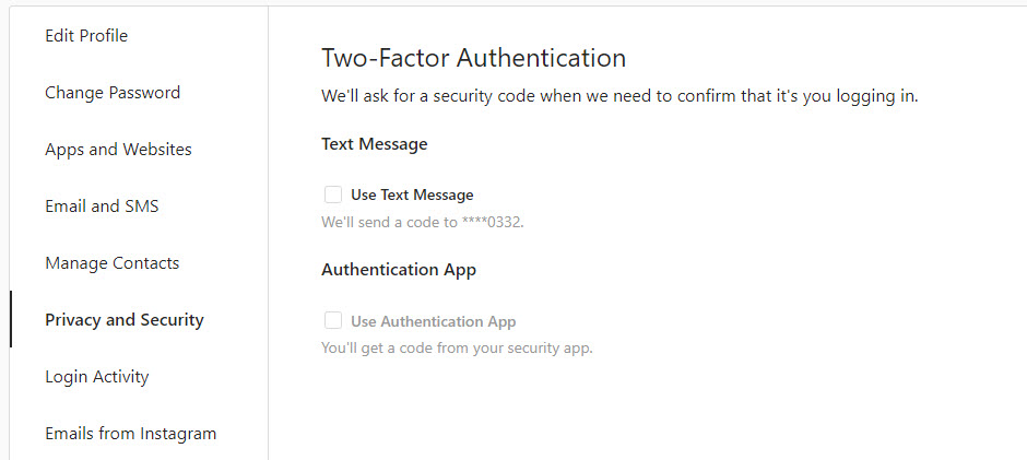 Instagram two-factor-authentication