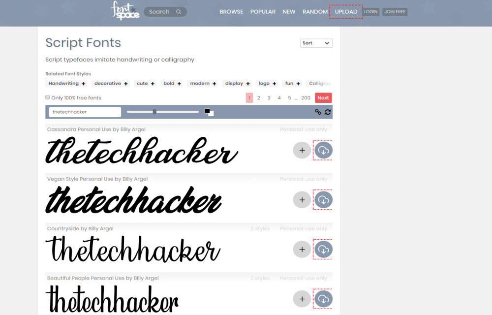 custom text preview in FontSpace