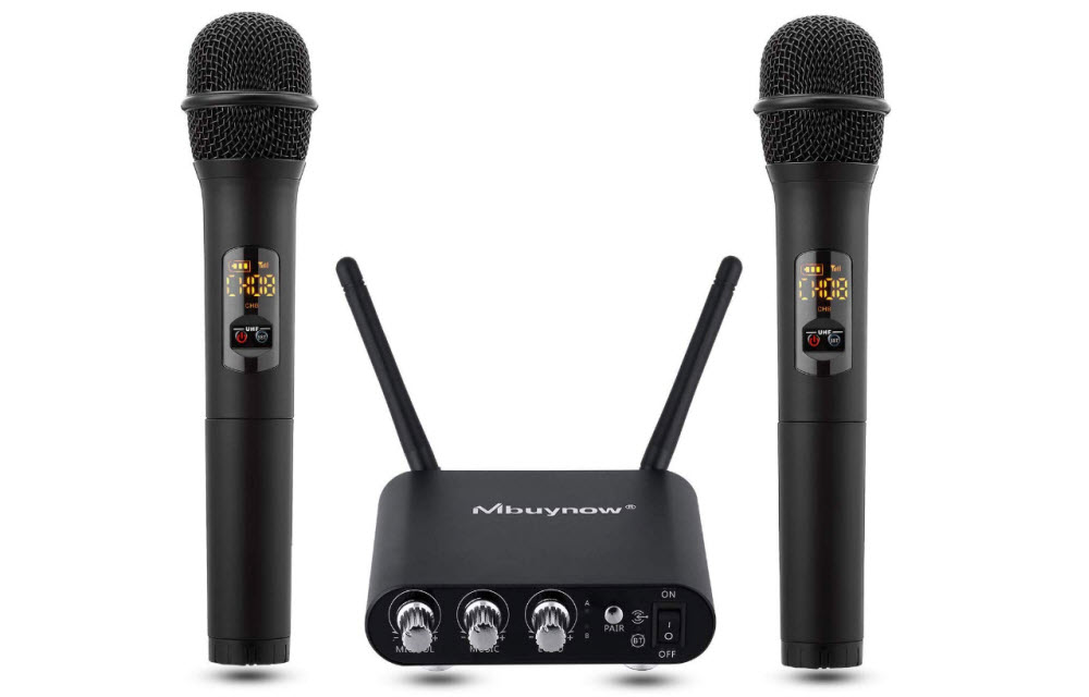 Get Mbuynow Dual Professional Microphone with Bluetooth receiver for DJ, Karaoke