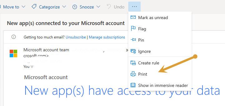 Microsoft Outlook Printe Command