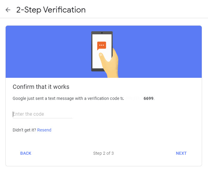 Entering OTP in 2-step verification page