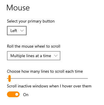 Mouse scrolling settings