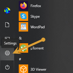 Windows Settings in the start menu