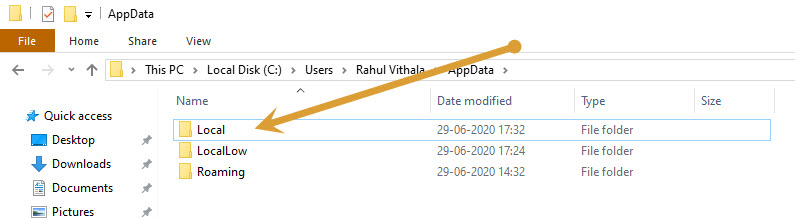 Local folder in appdata