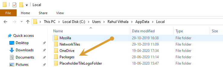 Package folder in local