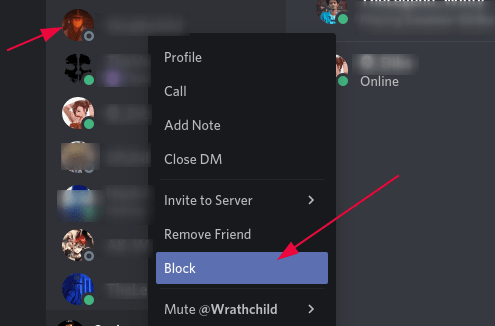 Blocking a person on Discord