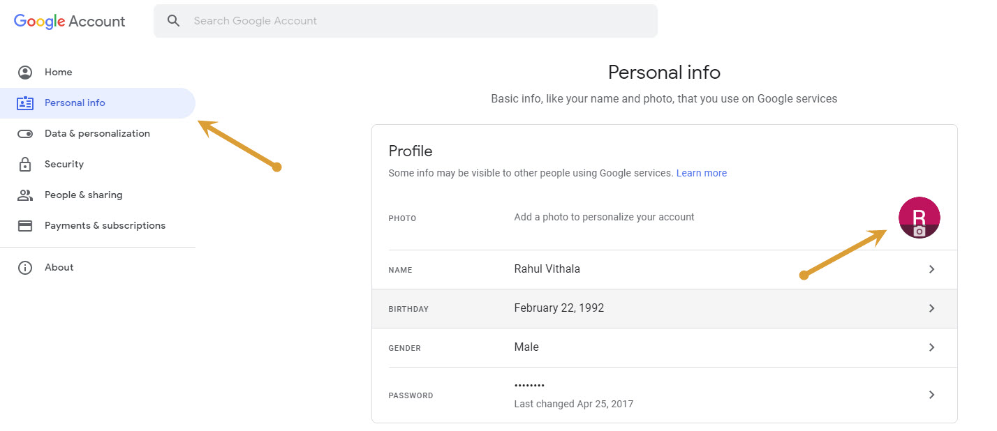 Google Account Settings-Profile pic change