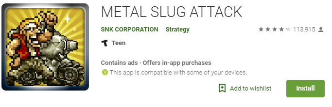 metal slug attack retro game