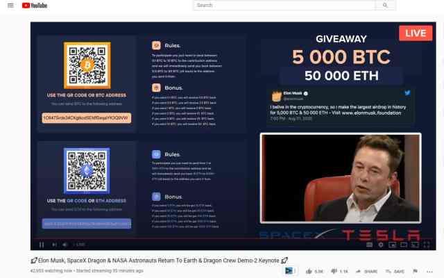 elon musk bitcoin scam on youtube