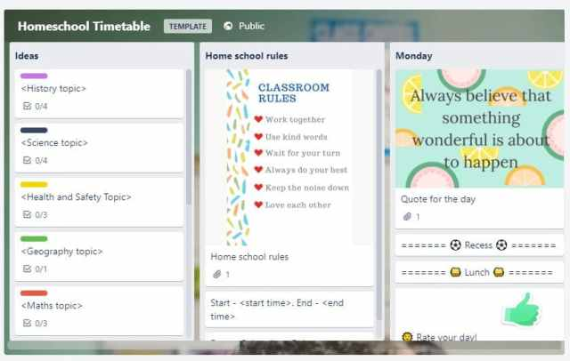 trello back to school tech
