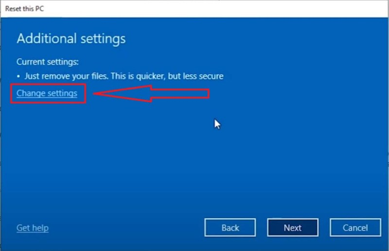 Settings>Update & Security>Recovery>Reset this PC>Remove Everything