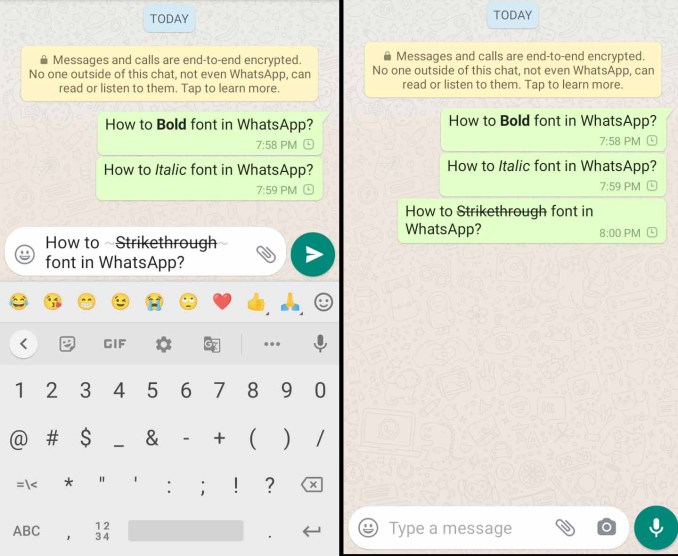 how to bold font in Whatsapp