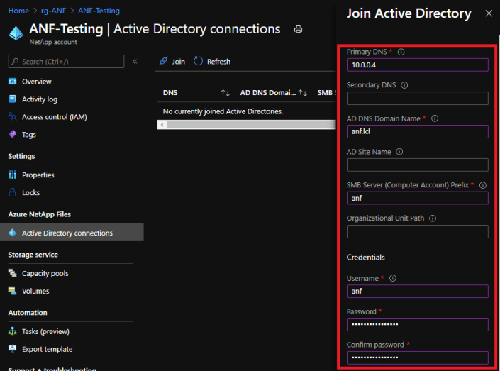 Azure NetApp Files Active Directory Join