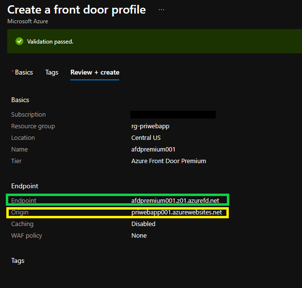 Final Configuration for Azure Front Door