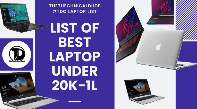 Best Laptops Under 20000 to 1 lakh (2019)