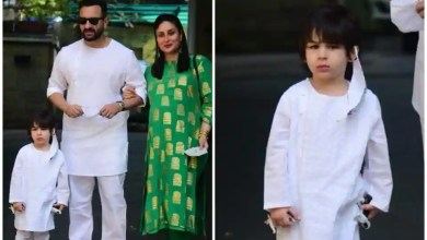 Taimur takes off mask to pose for the paparazzi as Saif Ali Khan and Kareena Kapoor arrive at the Kapoors' annual Christmas lunch – bollywood
