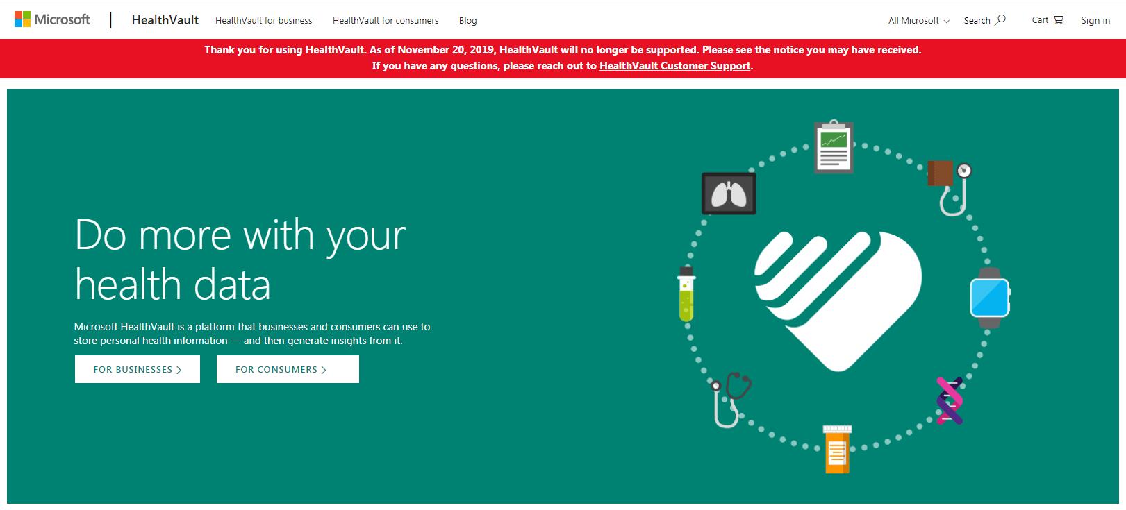 Microsoft HealthVault shutting down in November