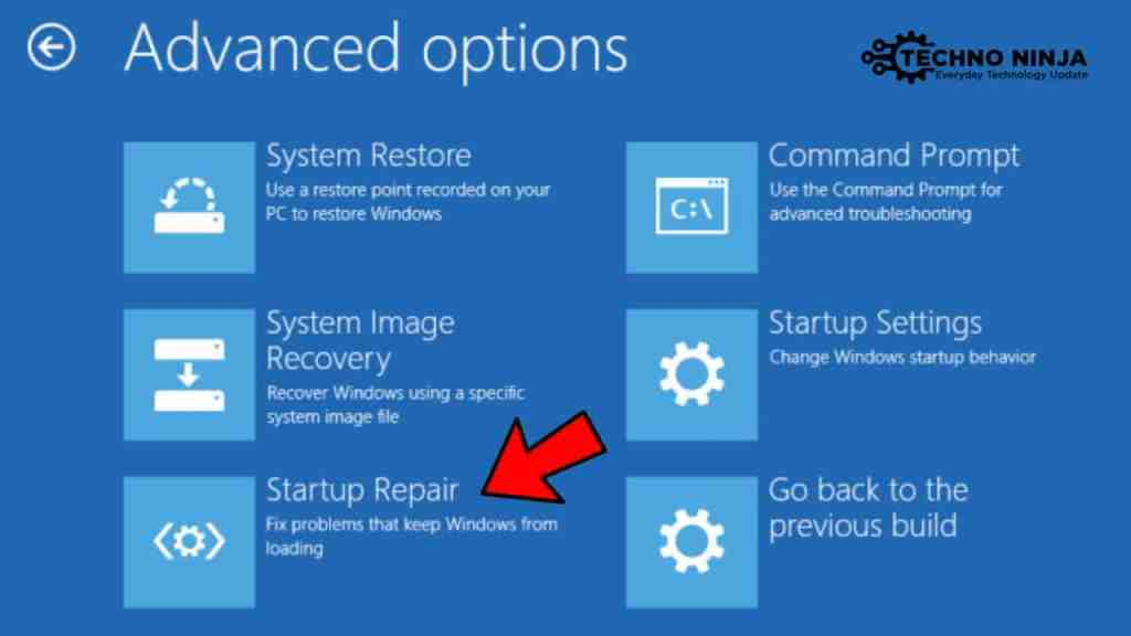 Click on Startip Repair