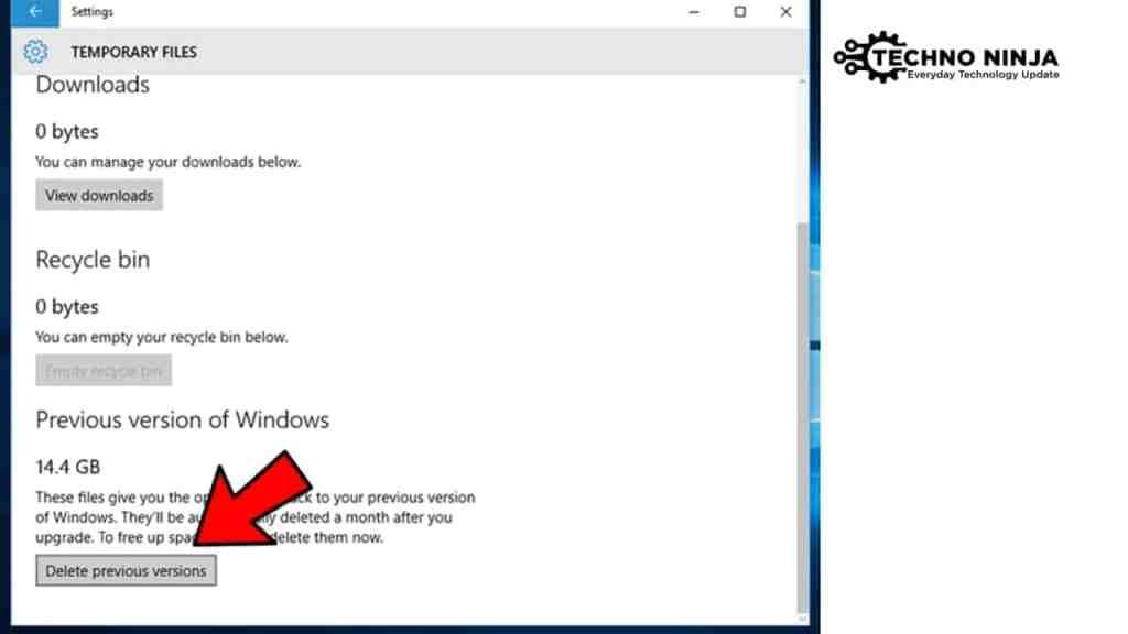 Delete the Previous Version of Windows 10