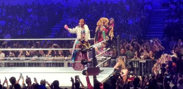 WWE Live Singapore: The Kabuki Warriors (Kairi Sane and Asuka) make their entrance to massive crowd cheers.
