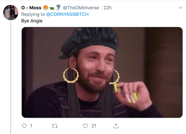 Twitter player's cocky reaction with a sassy Chris Evans or Captain America meme.