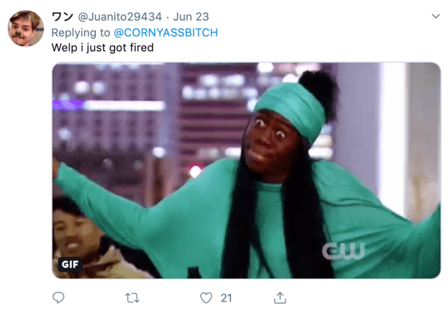 Twitter player's reaction of 'getting fired' and losing in the game