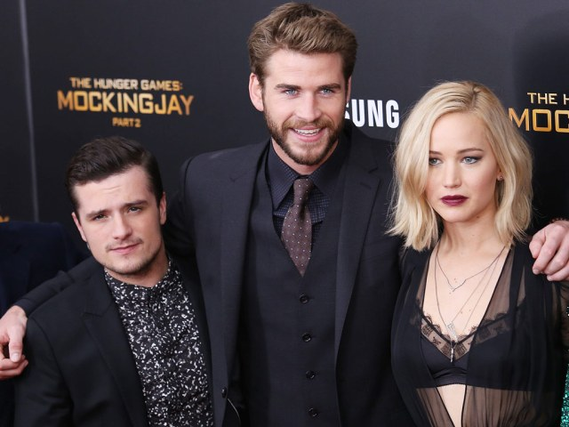 Josh Hutcherson, Liam Hemsworth and Jennifer Lawrence at the screening of The Hunger Games: Mockingjay Part 2.