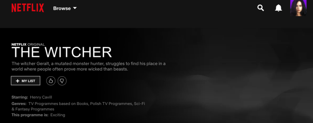 The Witcher now added on Netflix with no images.