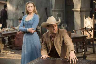 Evan Rachel Wood as Dolores, Jimmi Simpson as William, in HBO Westworld. via radiotimes.com