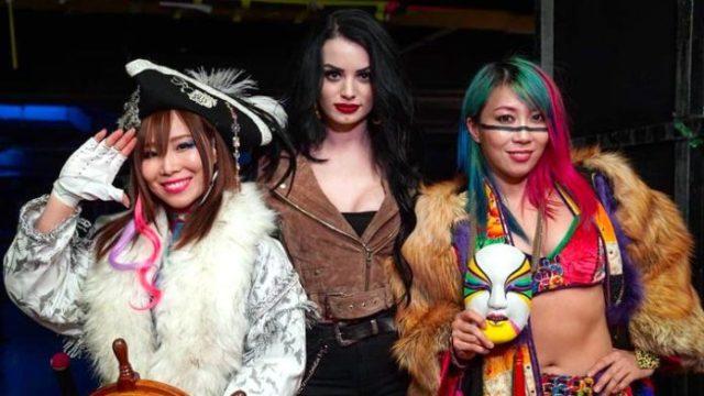 The Kabuki Warriors (Asuka and Kairi Sane) pictured with their manager, Paige. via HeelbyNature.com