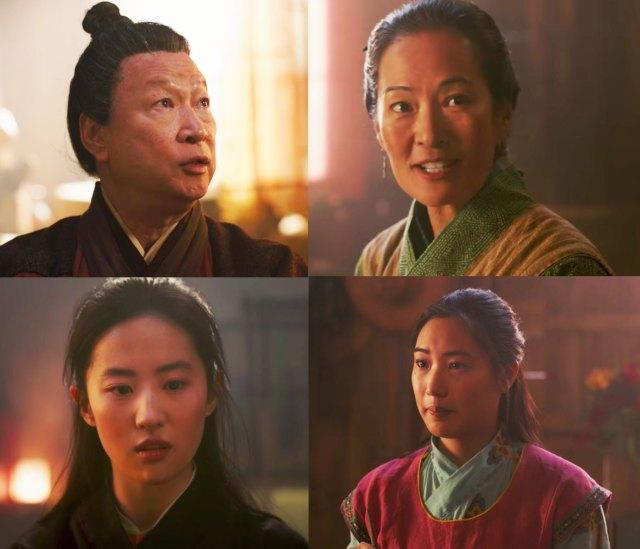 From bottom left (clockwise): Liu Yifen as Mulan, Tzi Ma as Mulan's father Hua Zhou, Rosalind Cho as Mulan's mother Hua Li and Xana Tang as Mulan's sister Hua Xiu.