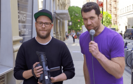 "Seth Rogen and Billy Eichner in ""Billy On The Street"" show via nme.com"