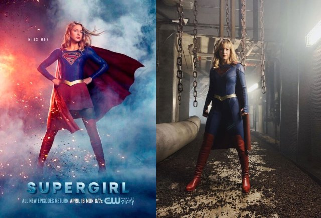 Old Supergirl suit (left) vs New Supergirl suit (right) via IMDB.com and @melissabenoist (instagram)