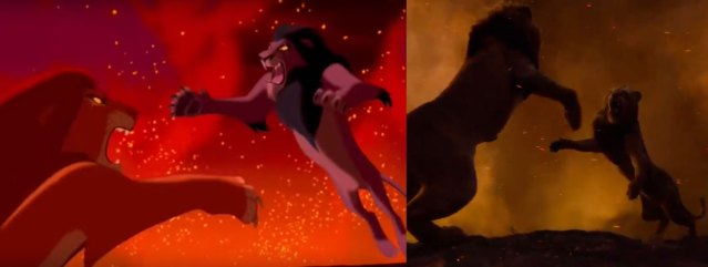 The epic showdown between Simba and Scar. via FitnessFreak YouTube channel (left) and @DisneyLionKing Twitter (right)