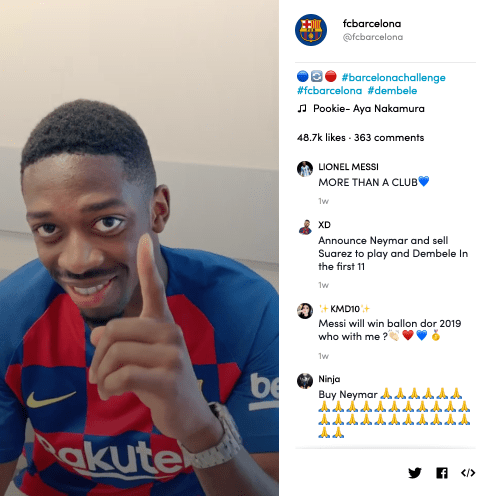 Ousmane Dembélé's video for #BarcelonaChallenge on TikTok