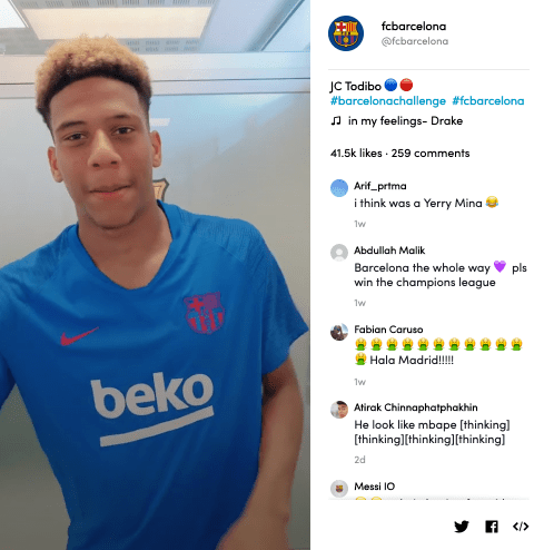 Jean-Clair Todibo's video for #BarcelonaChallenge on TikTok
