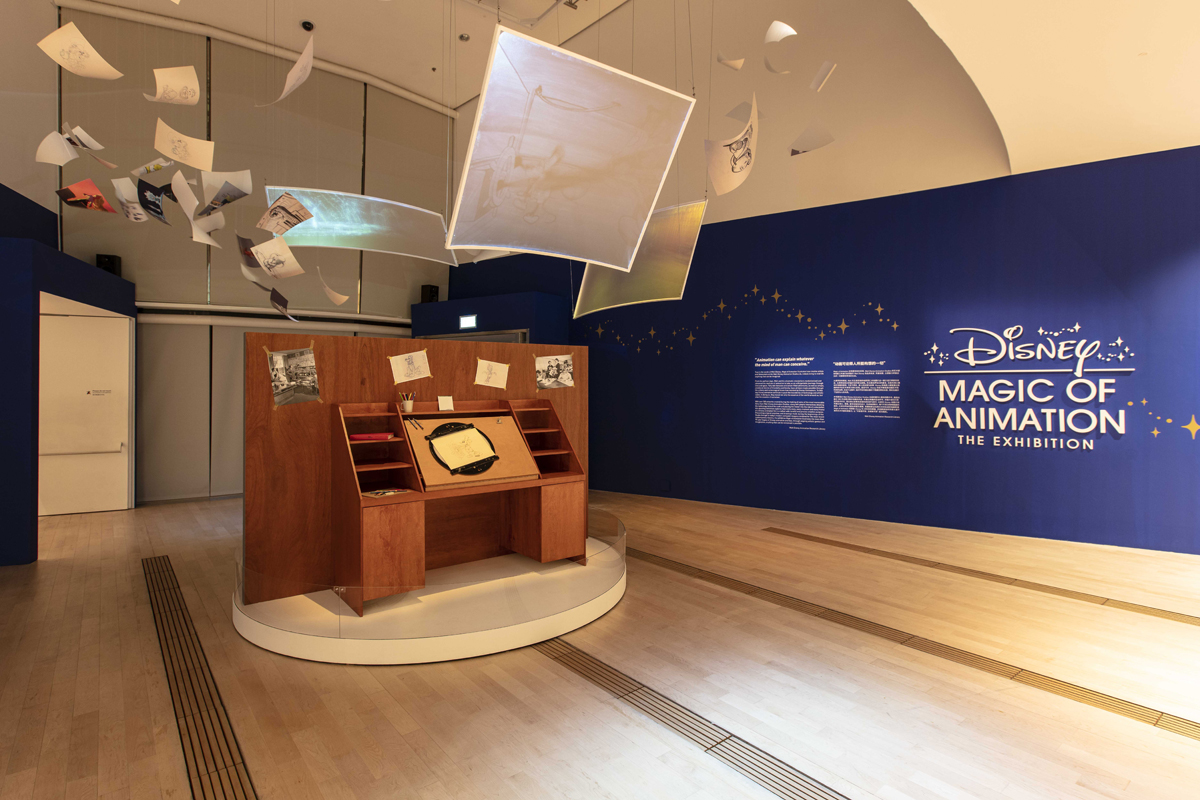 Replica of Disney's animator's desk at the entrance of Disney Magic of Animation (Credit to Marina Bay Sands and Disney)