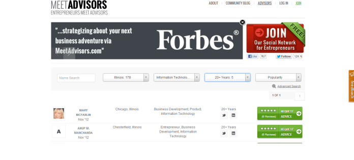 MeetAdvisors Home Page