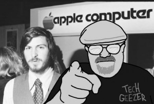 Tech Geezer Photo Bombing with Steve Jobs.  Thanks to Ken Sanders at the Volt Report for finding the photo.