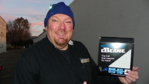 "The ""Guru of Geek"" Marlo Anderson using the eBeanie on a cool morning in North Dakota."