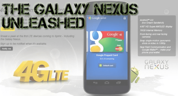 Sprint's Galaxy Nexus releasing on April 22 with more features than Verizon's via The Tech Temple