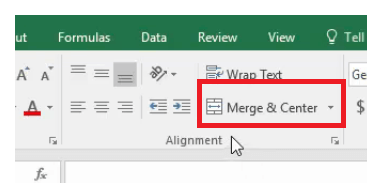 How to merge and center in excel