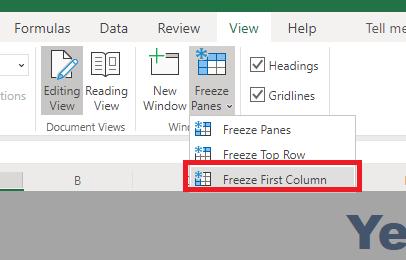 freeze columns in excel