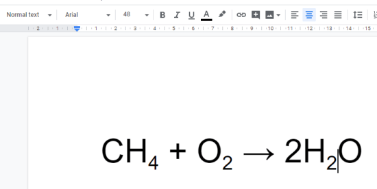 subscripts in google docs