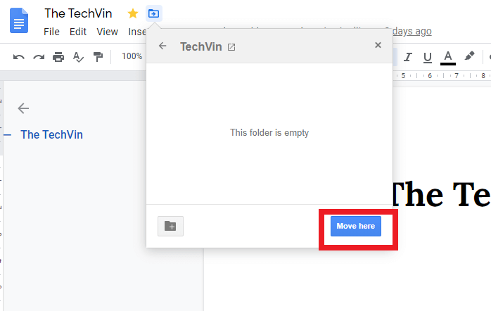 Tab on Move here to create a folder in google docs