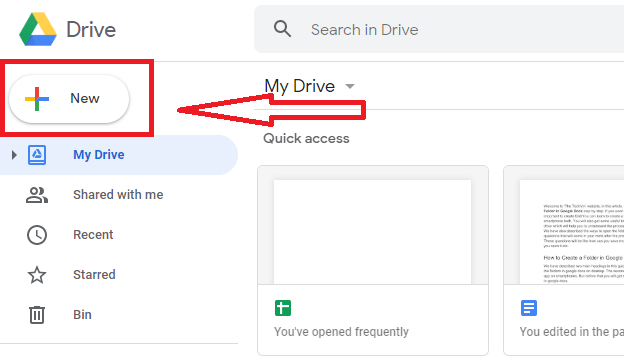 Click on the new tab to create a folder in google drive