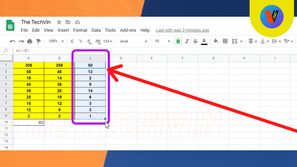 Subtraction of rows and columns in google sheets